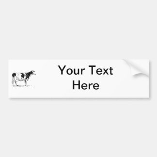 Cow Design Pencil Sketch Car Bumper Sticker