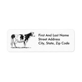 Cow Design Pencil Sketch Label