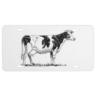 Cow Design Pencil Sketch License Plate