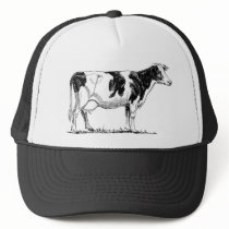 Cow Design Pencil Sketch Trucker Hat