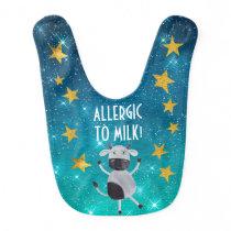 Cow Diary Milk Allergy Stars Stripes Gold Baby Bib