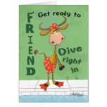 Cow Diver Birthday for Friend Greeting Card