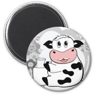 Cow drinking milk 2 inch round magnet
