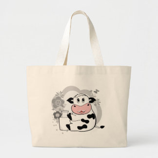 Cow drinking milk tote bags