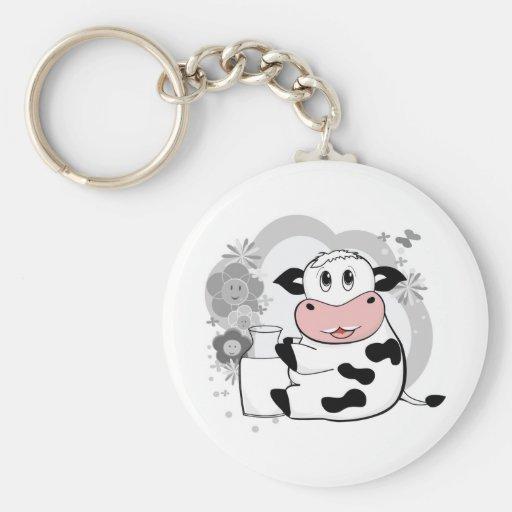 Cow drinking milk basic round button keychain