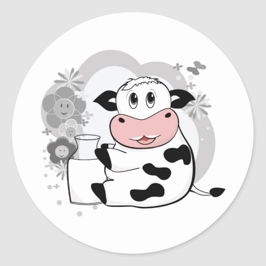 Cow drinking milk classic round sticker