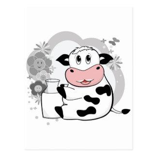 Cow drinking milk postcard