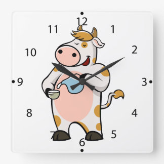 cow drinking milk square wall clock