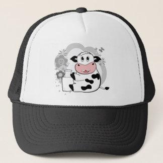 Cow drinking milk trucker hat