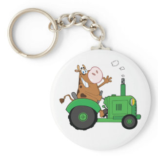 Cow Driving A Tractor Keychain