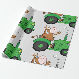 Cow Driving A Tractor Wrapping Paper