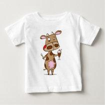 Cow enjoying a milkshake baby T-Shirt