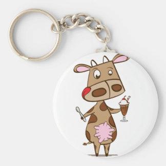 Cow enjoying a milkshake keychain