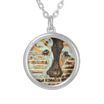 Cow Eyes on the Other Side   Silver Plated Necklace