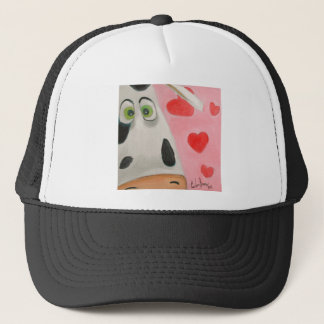 Cow face hearts cute Valentines picture Trucker Hat