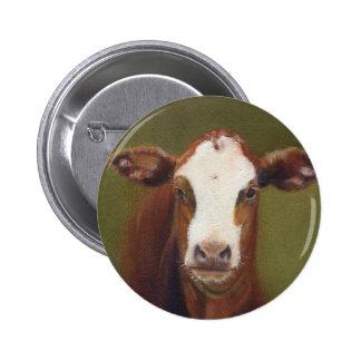 Cow Face Pinback Button