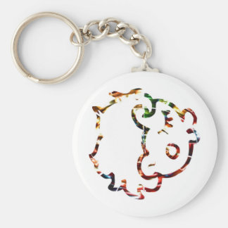 Cow Face   - Sparkling Red Basic Round Button Keychain