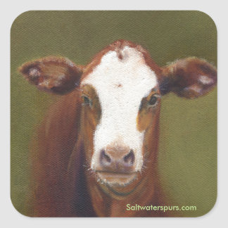 Cow Face Square Sticker