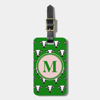 COW FACE tiled zazzle pattern dark green.png Bag Tag