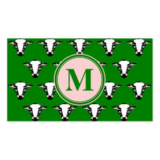 COW FACE tiled zazzle pattern dark green.png Business Card