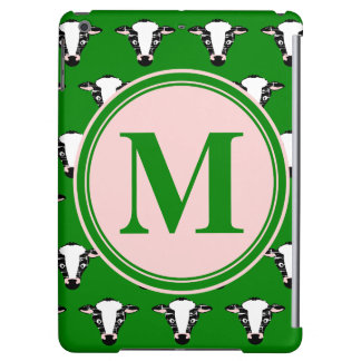 COW FACE tiled zazzle pattern dark green.png Case For iPad Air