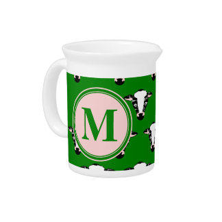 COW FACE tiled zazzle pattern dark green.png Pitcher