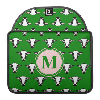 COW FACE tiled zazzle pattern dark green.png Sleeve For MacBook Pro