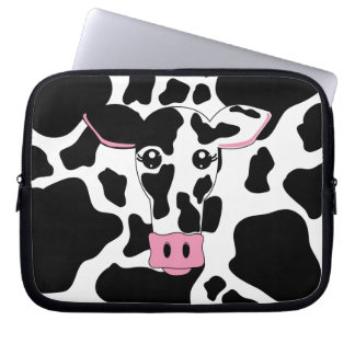 Cow Face with Cow Print Laptop Sleeve
