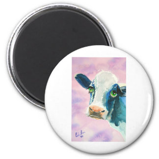 Cow face with green eyes watercolor painting 2 inch round magnet