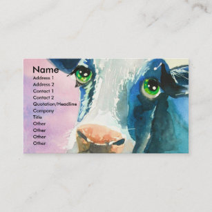 Cow face with green eyes watercolor painting business card