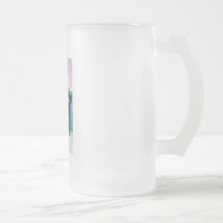 Cow face with green eyes watercolor painting frosted glass beer mug