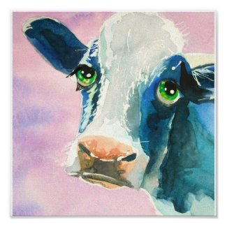 Cow face with green eyes watercolor painting poster