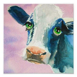 Cow face with green eyes watercolor painting posters