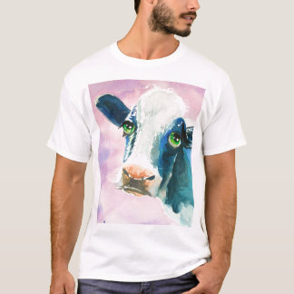 Cow face with green eyes watercolor painting T-Shirt