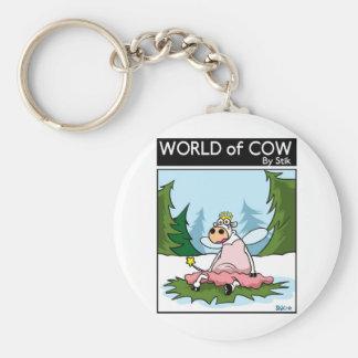 Cow Fairy Basic Round Button Keychain