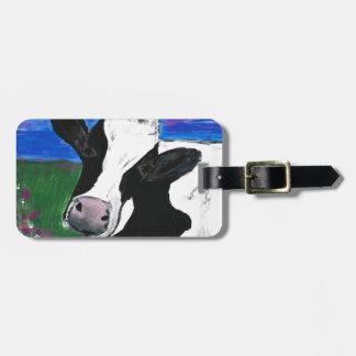 Cow, Farm, Animal, rural, hand painted calf. Bag Tag