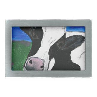 Cow, Farm, Animal, rural, hand painted calf. Belt Buckle