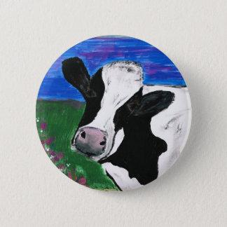 Cow, Farm, Animal, rural, hand painted calf. Button
