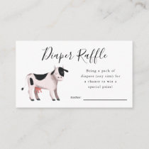 Cow Farm Baby Shower Diaper Raffle Ticket Enclosure Card