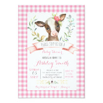 cow farm baby shower invitation pink girl