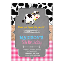 Cow farm barnyard birthday invitation