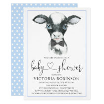 Cow Farm Boy Baby Shower Invitations