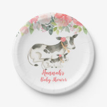 Cow Floral Farm Peonies Baby Shower Paper Plate