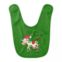 Cow Funny Cartoon Christmas Holiday Baby Bib