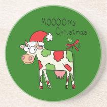 Cow Funny Cartoon Christmas Holiday Coaster