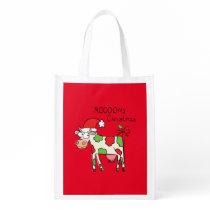 Cow Funny Cartoon Christmas Holiday Grocery Bag