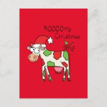 Cow Funny Cartoon Christmas Postcard