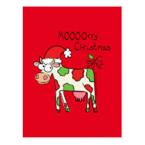 Cow Funny Cartoon Christmas Postcard