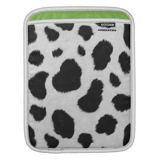 Cow fur texture black and white spots pattern iPad sleeve
