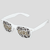 Cow Girl Cow pattern background Retro Sunglasses